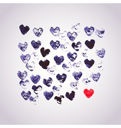 Watercolors background with heart stamp many heart vector image