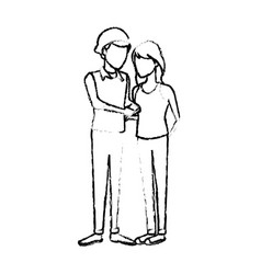 couple students girl and guy character standing vector image
