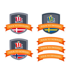 emblem set with coat of arms of scandinavia vector image