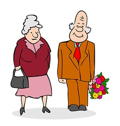 Happy seniors couple Old man with a bouquet vector image vector image