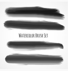 set of black watercolor brushes vector image