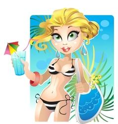 Summer blond girl on the beach vector