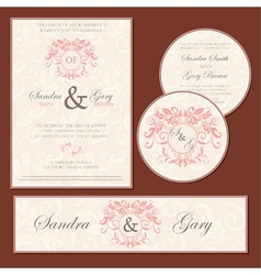 vintage wedding cards vector image vector image
