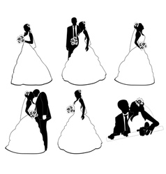 wedding silhouettes vector image vector image