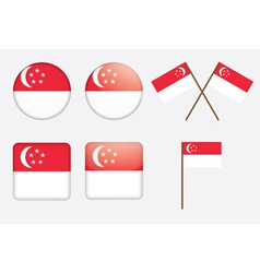 badges with flag of Singapore vector image vector image
