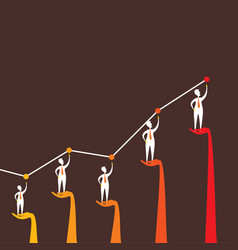 businessmen growth graph vector image
