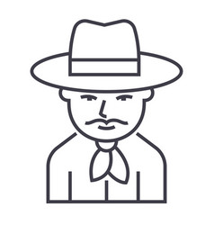 cowboy line icon sign on vector image vector image
