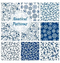 Nautical helm and anchor seamless pattern set vector image vector image