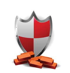 protection red shield vector image vector image