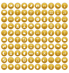 100 bicycle icons set gold vector