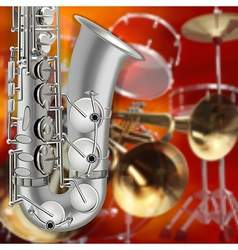 abstract music red background with saxophone and vector image