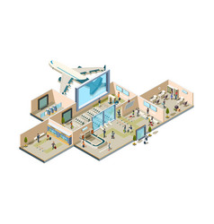 airport terminal boarding gate conveyor for vector image