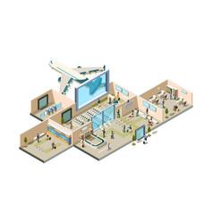 airport terminal boarding gate conveyor vector image