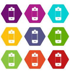 Alkaline battery icon set color hexahedron vector