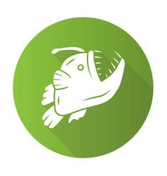 Anglerfish green flat design long shadow glyph vector