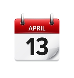 April 13 flat daily calendar icon Date vector image