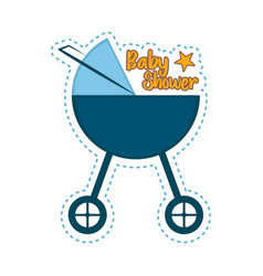 baby shower label with a baby stroller vector image