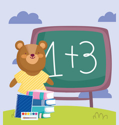 Back to school bear chalkboard books notepad vector