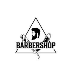 barber shop vintage logo with gentleman face vector image
