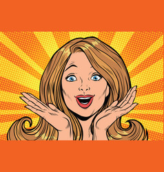 beautiful female emotional reaction joy vector image