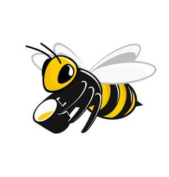 Bee with a bucket of honey vector