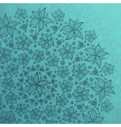 Blue line drawn flowers circle background vector image