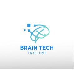 Brain tech logo creative brain logo data brain vector