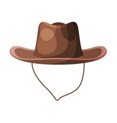 brown cowboy hat retro male headdress flat vector image