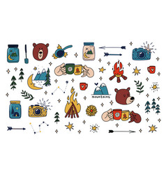 Camping set collection of hand drawn colored vector