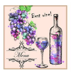 Card menu with sketch grapes wine vector
