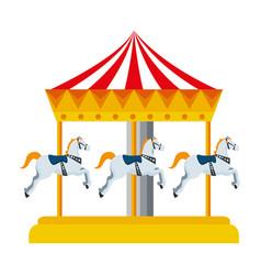Carnival carousel horses icon vector