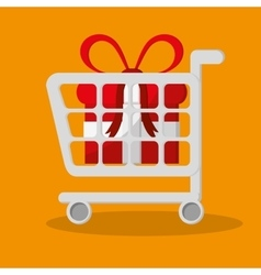 Cart gift and shopping online design vector