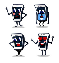 cartoon color smartphone characters icons set vector image