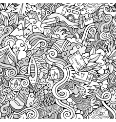 Cartoon doodles camping seamless pattern vector