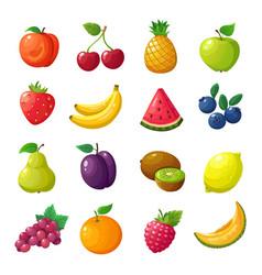 Cartoon fruits and berries melon pear mandarin vector