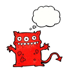 Cartoon little monster with thought bubble vector