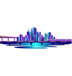 city by the ocean vector image