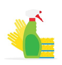 Cleaning supplies kitchen sponges and cleaning vector