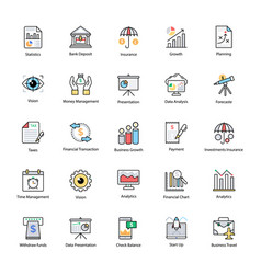 Colored line icon of business and finance vector