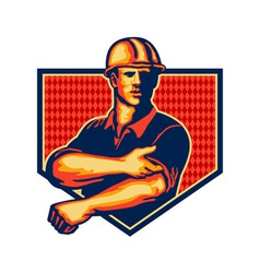 Construction worker rolling up sleeve retro vector