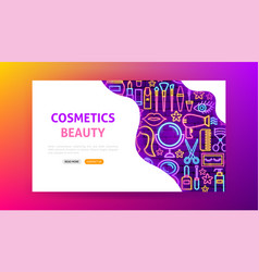 Cosmetics beauty neon landing page vector