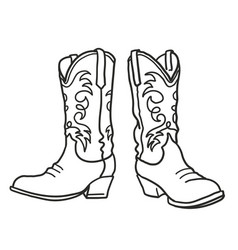 Cowboy boots graphic hand draw vector