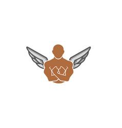 creative strong person gym logo vector image