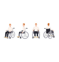 Cute happy young man in wheelchair isolated on vector