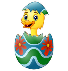 cute little duck hatched from an egg vector image