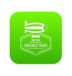 dirigible icon green vector image