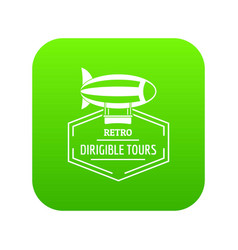 Dirigible icon green vector