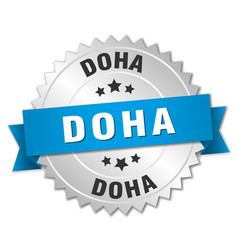 Doha round silver badge with blue ribbon vector