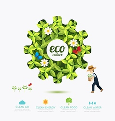 Ecology infographic green gear shape with farmer vector image