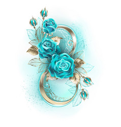 eight with turquoise roses vector image